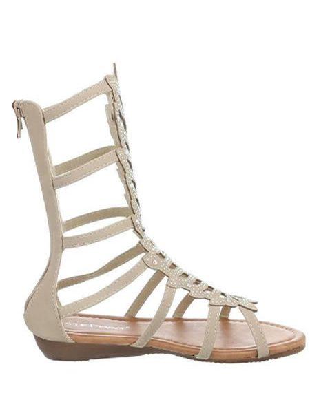 Sandale Gladiator Scurte Albe