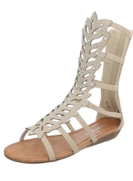 Sandale Gladiator Scurte Bej