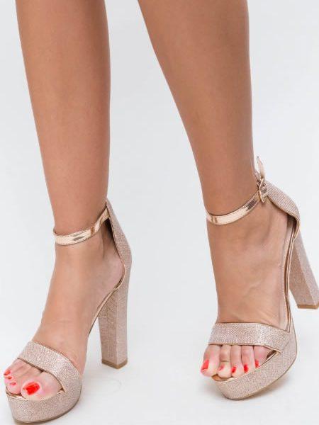 Sandale Ieftine Cu Toc Gros Si Platforma Aurii