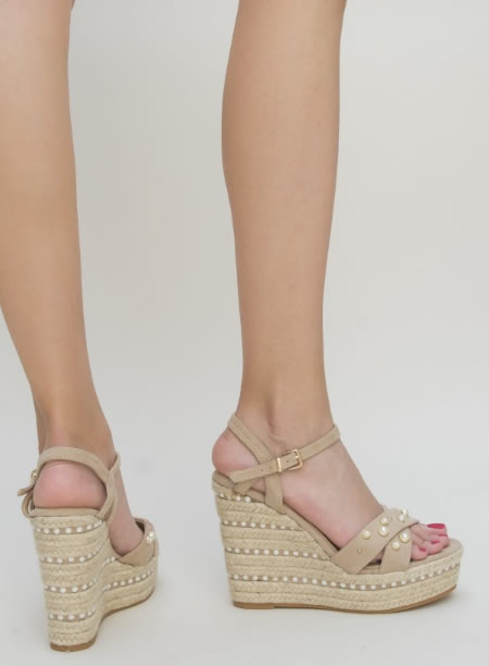 Sandale Inalte Cu Platforma Bej