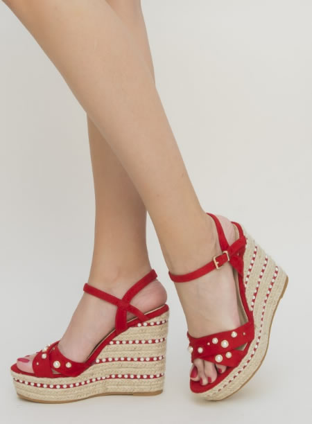 Sandale Inalte Cu Platforma Rosii