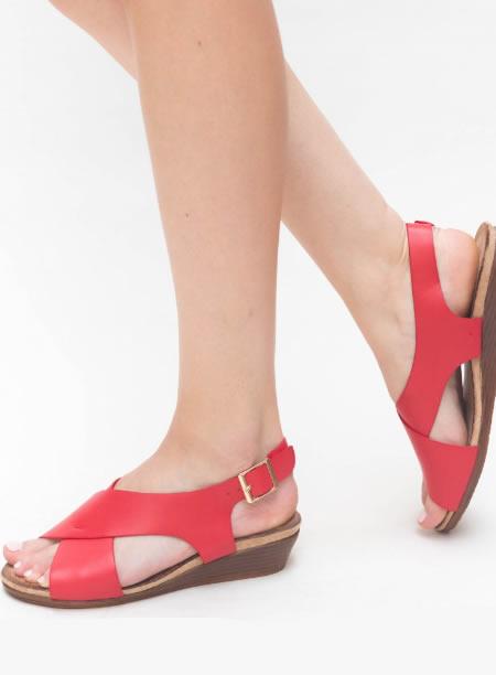 Sandale Joase Cu Platforma Rosii