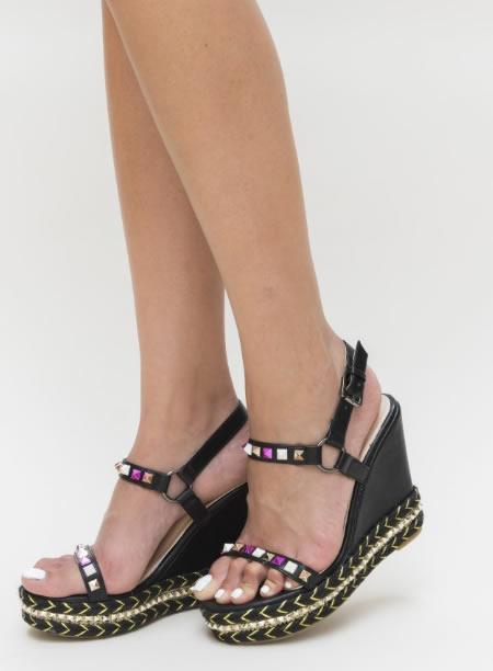 Sandale La Moda Negre Cu Platforma