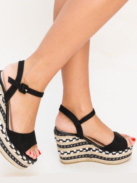 Sandale Negre Cu Platforma Impletita