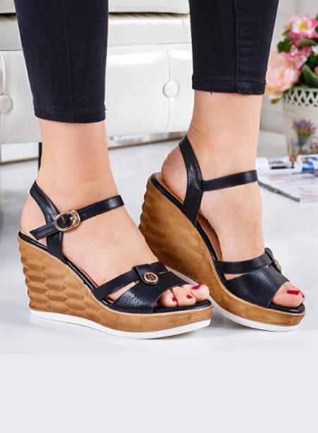 Sandale Negre Cu Platforma Inalta