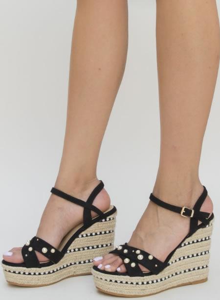 Sandale Negre Cu Platforma Ortopedica Impletita