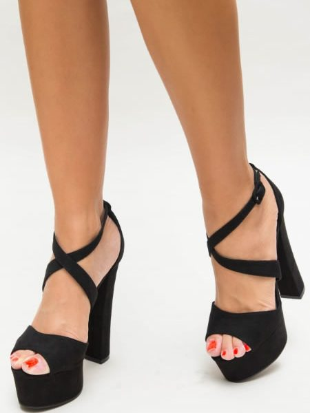 Sandale Negre Cu Platforma Si Toc Gros
