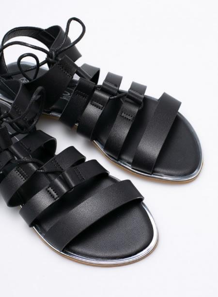 Sandale Negre Cu Siret Ieftine