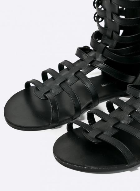 Sandale Negre Cu Talpa Joasa Gladiator