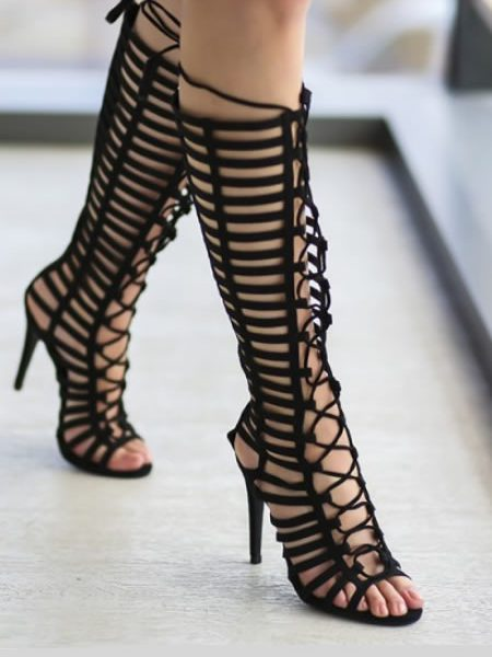 Sandale Negre Gladiator Cu Toc Cui
