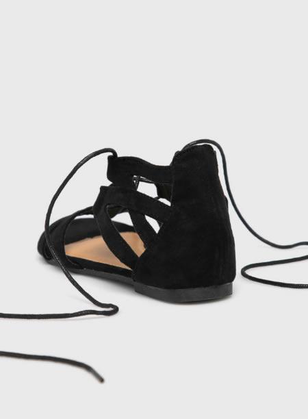 Sandale Romane Cu Talpa Joasa Negre