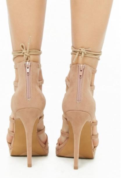 Sandale Romane Cu Toc Bej