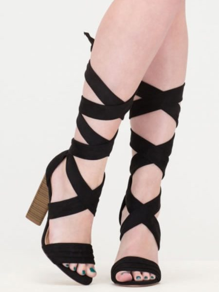 Sandale Romane Negre Cu Toc Inalt Gros