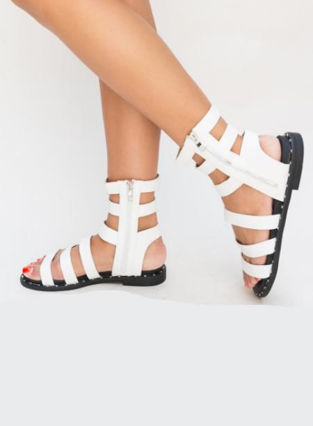 Sandale Romane Scurte Albe