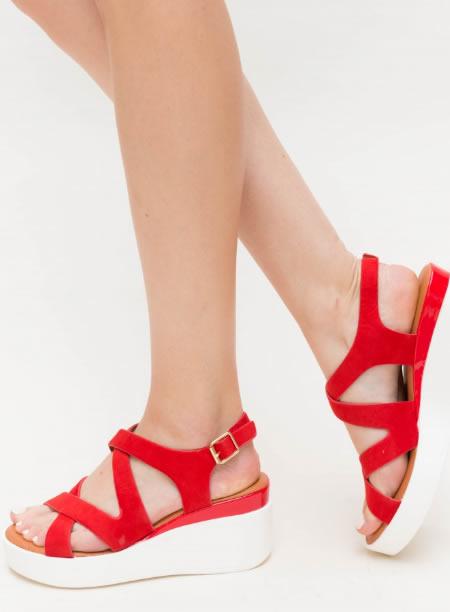 Sandale Rosii Cu Platforma Alba