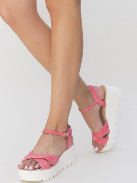 Sandale Roz Cu Platforma Alba