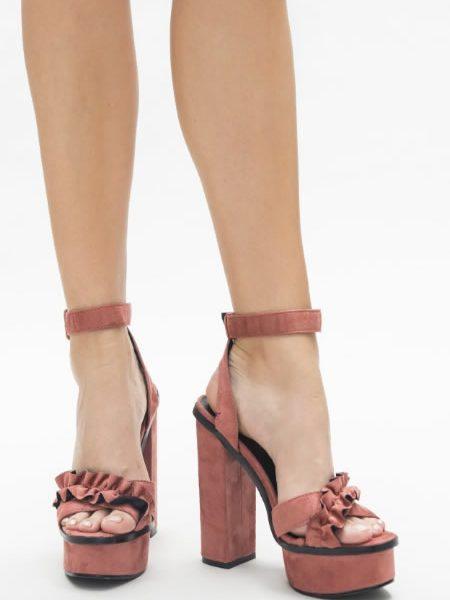 Sandale Roz Cu Toc Inalt Gros