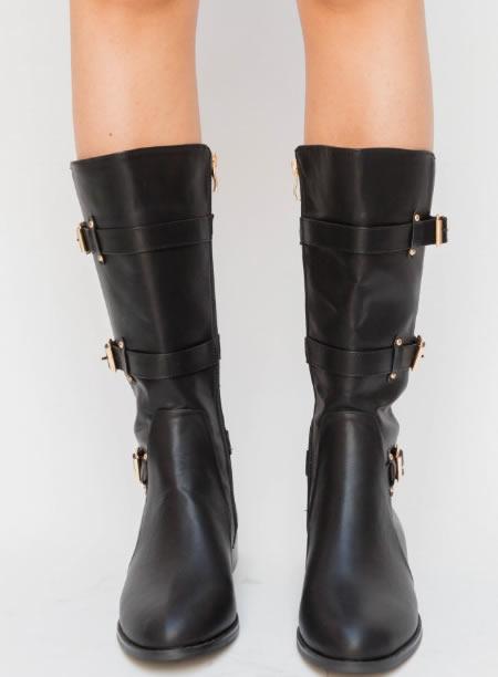 SUA vânzare ieftină bine cunoscute stil de moda Cizme dama fara toc negre, trei sferturi, accesorizate cu cureluse