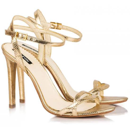 Sandale Aurii De Seara Cu Toc