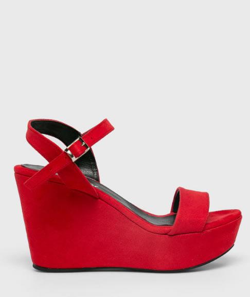 Sandale Cu Platforma Inalta Rosii