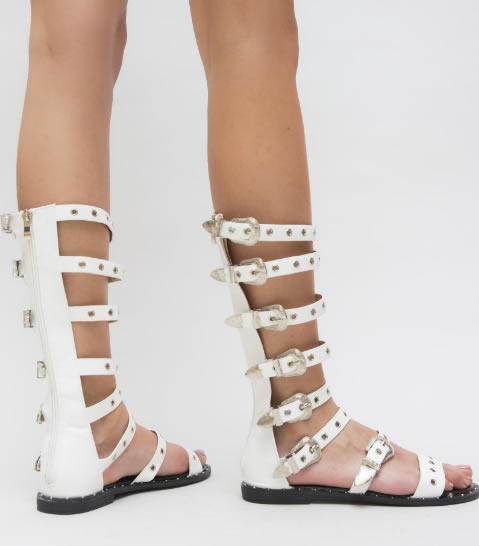 Sandale Gladiator Albe Cu Talpa Joasa