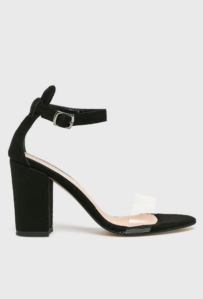 Sandale Negre Cu Bareta Transparenta