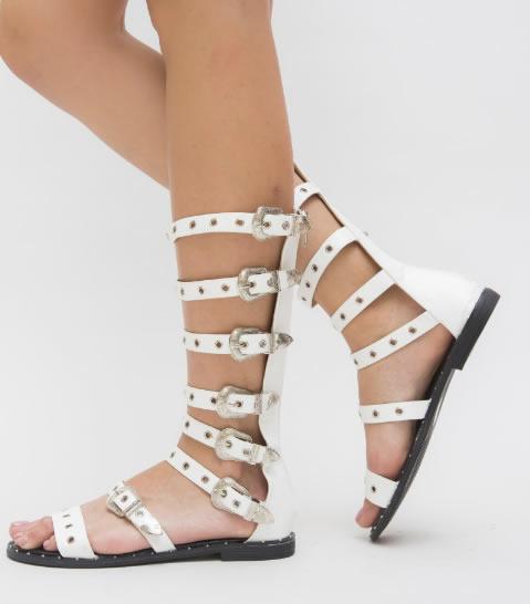 Sandale Romaner Albe Cu Talpa Joasa
