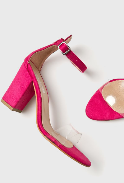 Sandale Roz Cu Bareta Transparenta