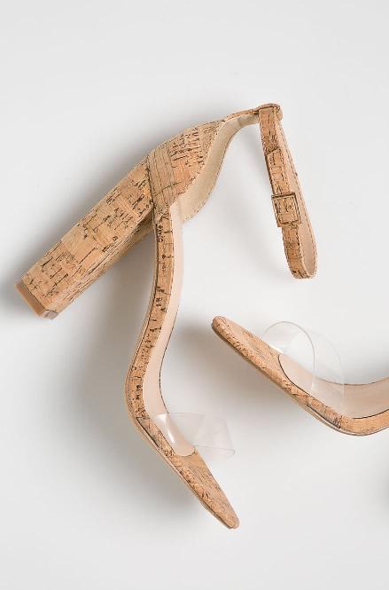 Sandale Transparente Cu Toc De Pluta