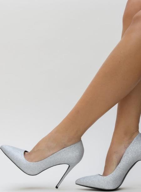 Pantofi Dama Cu Toc Argintii Cu Glitter