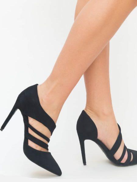 Pantofi Negrii Stiletto Cu Toc Cui Ieftini