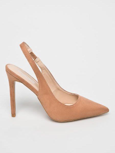 Pantofi Stiletto Bej Cu Calcaiul Decupat