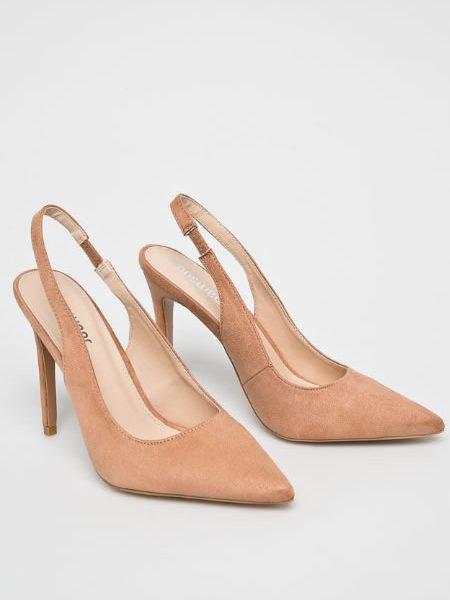 Pantofi Stiletto Bej Decupati La Spate