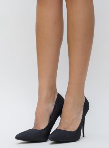 Pantofi Stiletto Negricu Sclipici