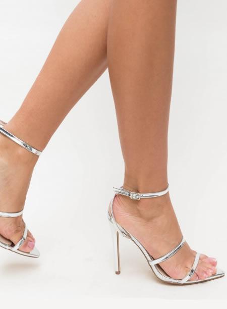 Sandale Argintii Elegante Cu Toc Si Varf Ascutit