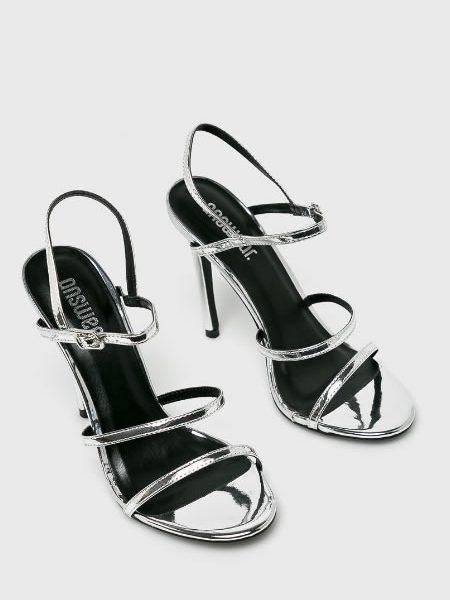 Sandale Argintii Ieftine Cu Toc