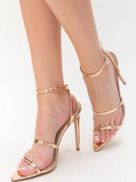 Sandale Aurii Cu Toc Subtire