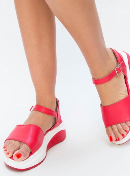 Sandale Cu Platforma Zimtata Rosii
