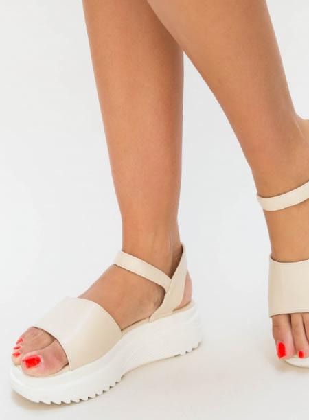 Sandale Dama Cu Platforma Dreapta Bej