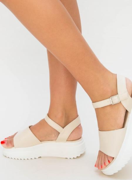 Sandale Dama Cu Platforma Zimtata Bej