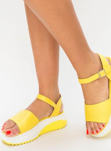 Sandale Dama Cu Platforma Zimtata Galbene