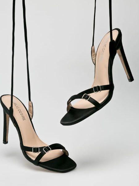 Sandale Elegante Cu Snur Pe Picior Negre