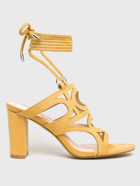 Sandale Galbene Inalte Cu Siret