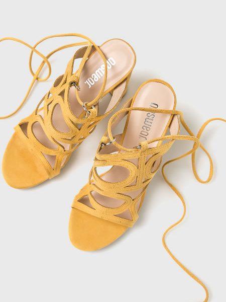 Sandale Galbene Inalte Cu Siret Pe Picior