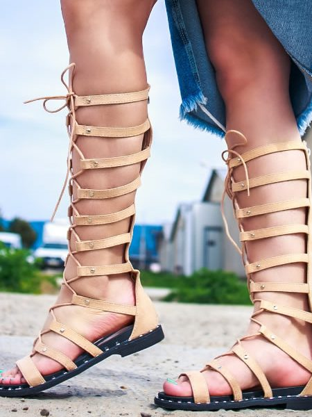 Sandale Gladiator Bej Cu Talpa Joasa
