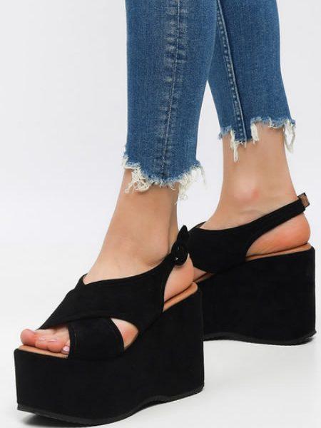 Sandale Negre Cu Platforma Foarte Inalta