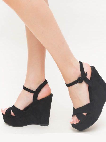 Sandale Negre Cu Platforma Negre Ieftine