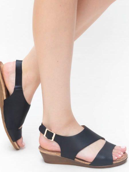 Sandale Negre Cu Talpa Ortopedica
