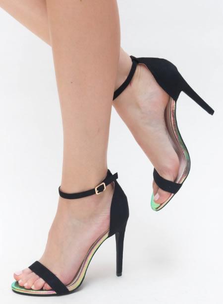 Sandale Negre Cu Toc Cui