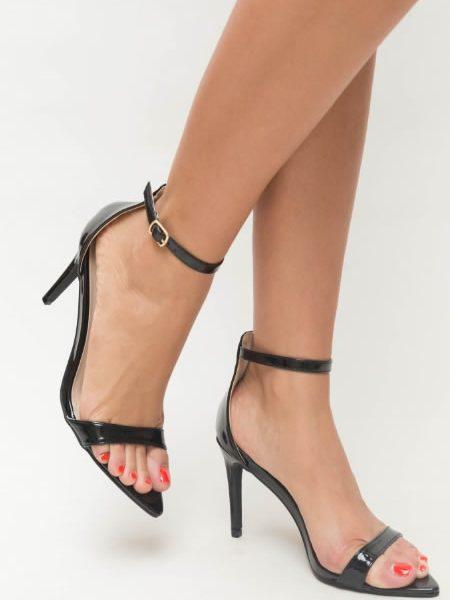 Sandale Negre Cu Varf Ascutit